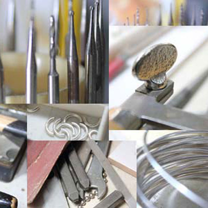 An image of a  collage of images of tools we use in making our jewellery