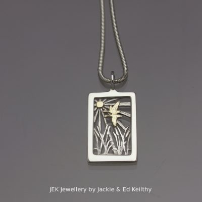 "An image of the piece ""Together "" sterling silver with 9ct Gold by Jackie & Ed Keilthy"