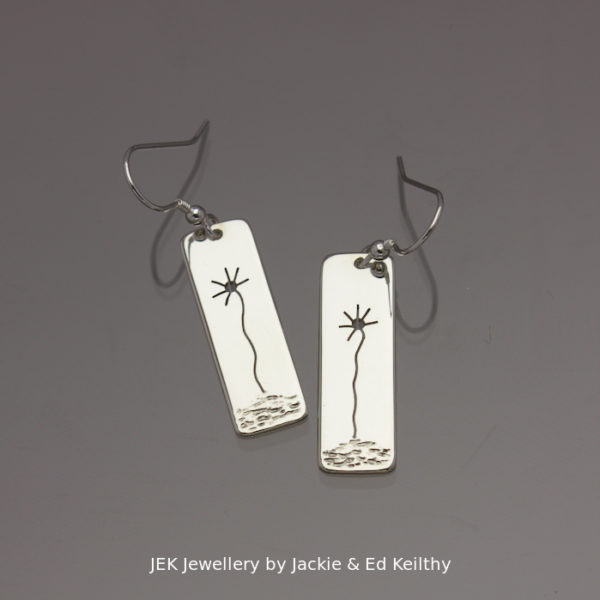 """An image of a piece of Jewellery.A pair of rectangular drop with the title """" Sunflowers""""in sterling silver by JEK Jewellery."""