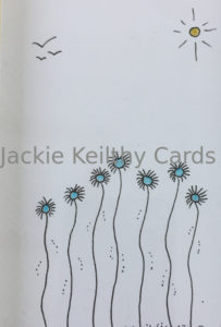 an image of one of Jackie Keilthy's cards of 7 blue , tall flowers